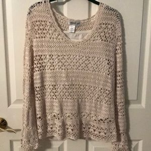 Crochet Coldwater Creek cream colored top w/cami